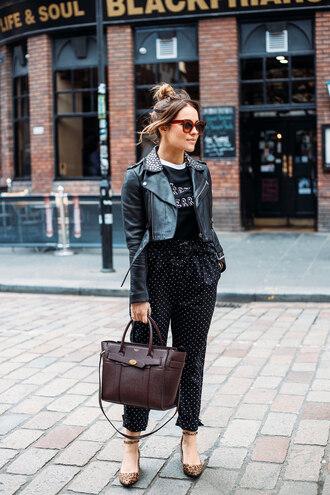 thelittlemagpie blogger t-shirt pants shoes jacket sunglasses tumblr polka dots black pants black t-shirt black jacket black leather jacket leather jacket bag flats cropped jacket