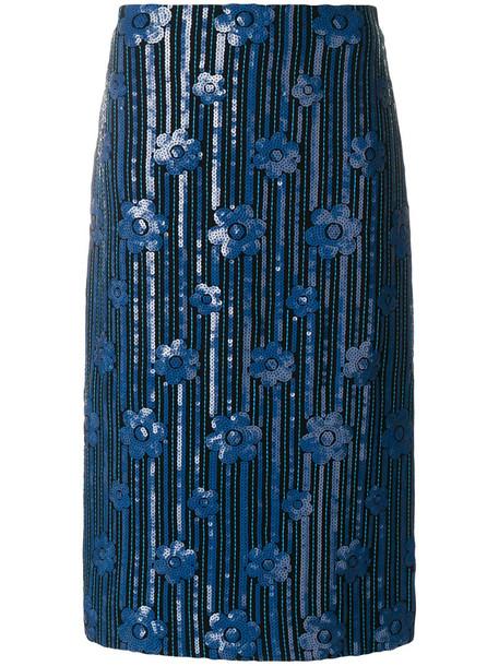 skirt pencil skirt women blue silk