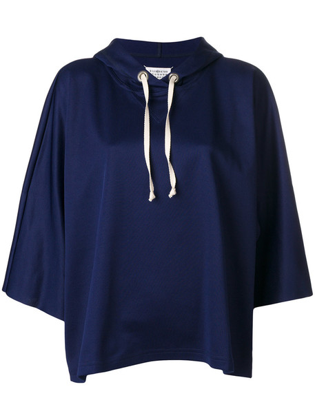 MAISON MARGIELA hoodie cropped hoodie loose cropped women fit cotton blue sweater