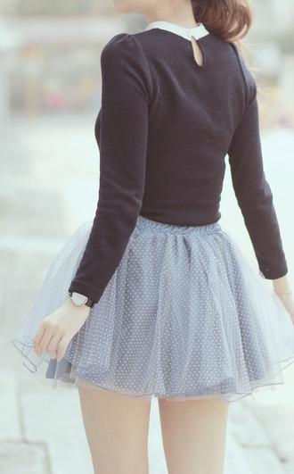 skirt pale blue polka dots tulle skirt