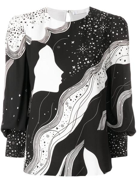 Chloe blouse women novelty print black silk top