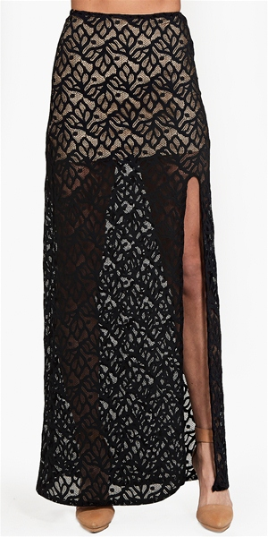 For Love & Lemons - Buenas Noches Skirt- Black
