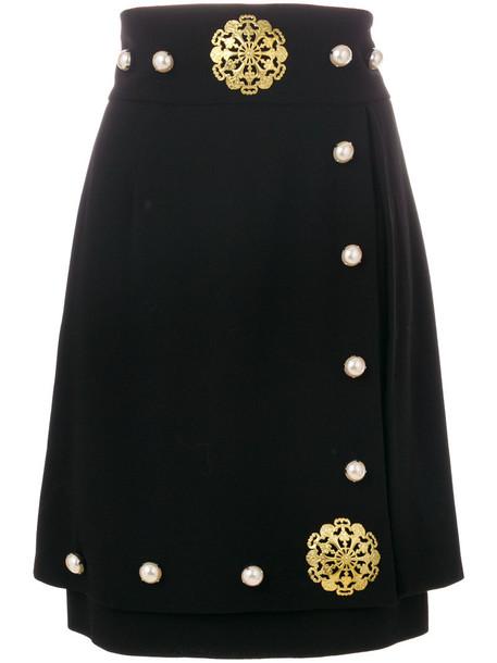STEFANO DE LELLIS skirt women spandex black wool