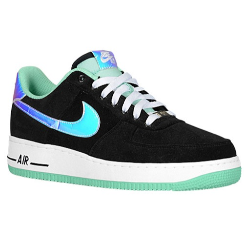 Nike Air Force 1 Low Men's Basketball Shoes BlackShiny SilverGreen Glow