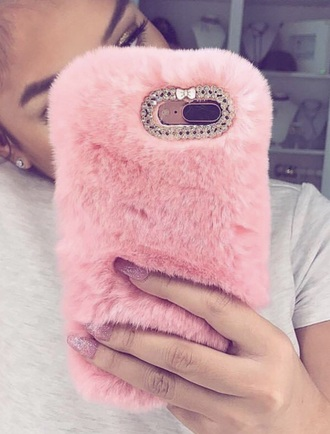 phone cover fur iphone case pink purple