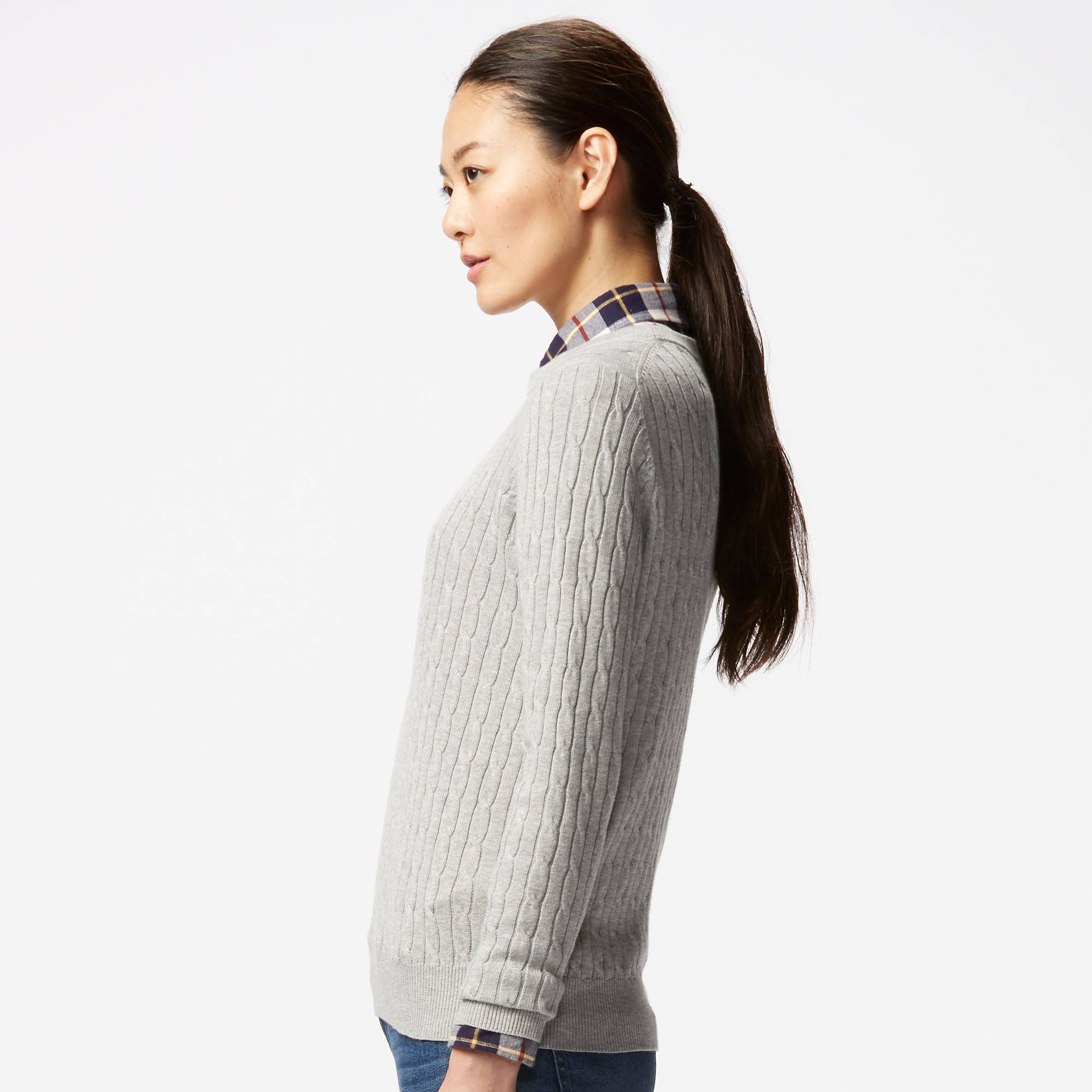 COTTON CASHMERE CABLE CREWNECK SWEATER | UNIQLO