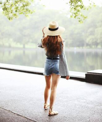 top hat tumblr long sleeves bell sleeves off the shoulder off the shoulder top gingham denim denim shorts shorts sun hat sandals flat sandals gold sandals shoes