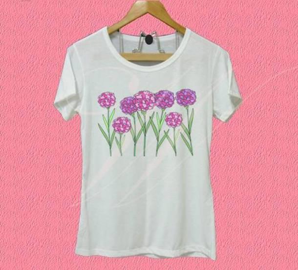 027bc92c53ac shirt flower shirt carnation shirt flower tee women shirts white shirt crew  neck shirt cute shirt