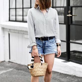 bag tumblr basket bag nude bag straw bag shorts denim shorts belt shirt stripes striped shirt necklace gold necklace jewels jewelry