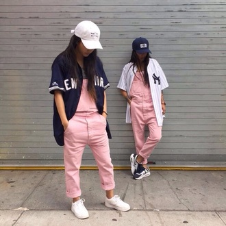 jeans light pink pink overalls dope dope wishlist urban cap nike yankees yankees jersey