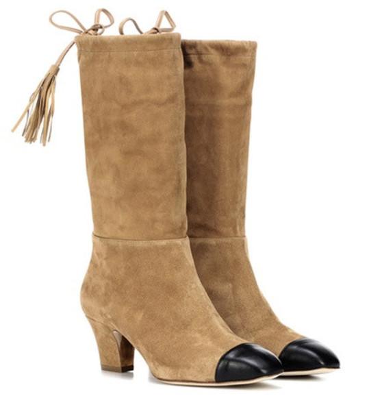 Rupert Sanderson Tiptoe suede boots in brown