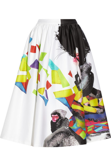 Alice   Olivia | Printed stretch-cotton midi skirt | NET-A-PORTER.COM