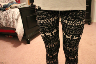 leggings christmas leggings pants printed leggings fashion cute snowflake leggings