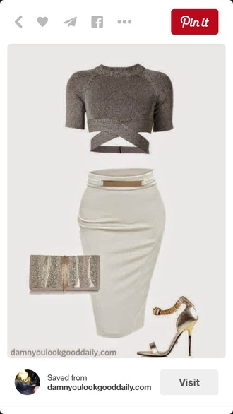 skirt midi skirt pencil skirt bodycon tight cute outfits cute top top crop tops grey top white skirt cut out crop top