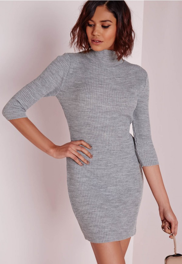 3beca140426e Missguided - mini turtle neck knitted dress grey