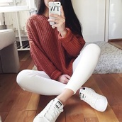 sweater,red,white,jeans,adidas,shirt,colorful,cute,marron,orange,knitted sweater