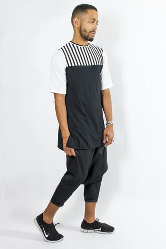 menswear bulls of summer longtee longtshirt oversized t-shirt black and white stripes allblack nike drop crotch pants goth hipster chris brown