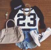 t-shirt,hat,bag,shoes,jewels,shorts,skreened,watch,shirt,clothes,michael jordan,23,chain,cute 23,summer,beanie,high fashiion,fashion,summer outfits,sweater,pull,black,white,american football styled,top,necklace,baseball tee,converse,gold,gold necklace,jordan,miley cyrus,black beanie,blouse,jordans,cute,dope,jewelry,badass,stylish,spring,spring outfits,High waisted shorts,denim,high waisted denim shorts,baddies,taylor gang,gold chain,black and white,sporty,swag,hipster,black sports top,tan,jersey,baddest beanie,brown bag,tumblr,black and white tee,number twenty three,cute shirt,casual