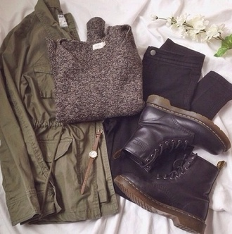 jacket army green jacket weather boots black jeans sweater dark grey fall outfits v neck