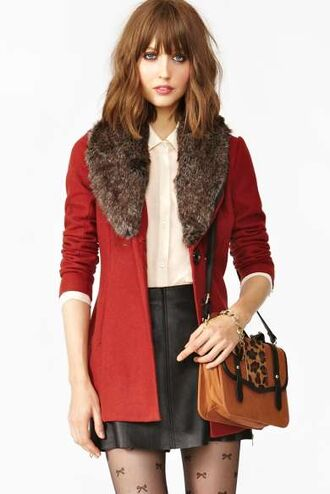 red coat coat clothes red winter coat cute nastygal fur faux fur jacket faux fur coat jacket winter jacket trench coat leopard print leopard print bag gold gold jewelry bracelets white blouse button up skater skater skirt black skater skirt bows all cute outfits winter outfits outfit underwear