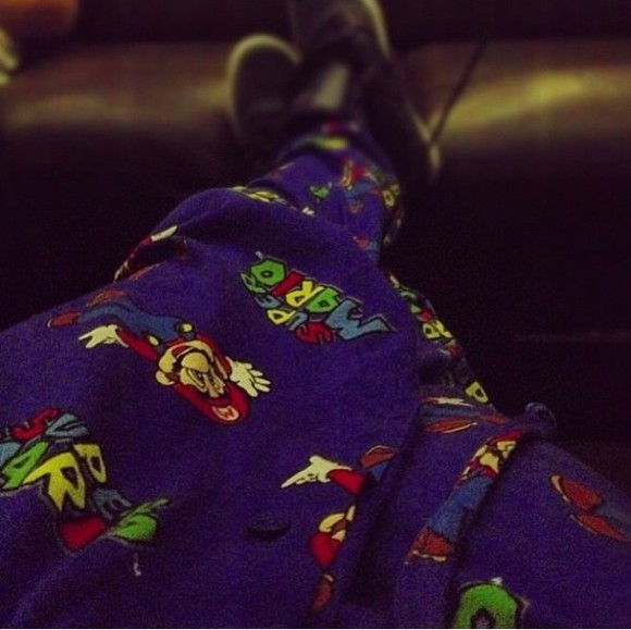 pants baggy pants justin bieber pajama pants super mario dark blue