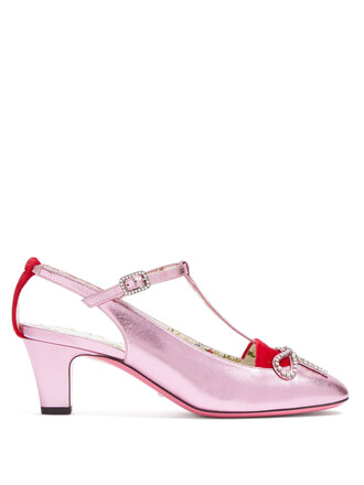 bow embellished pumps leather pink shoes