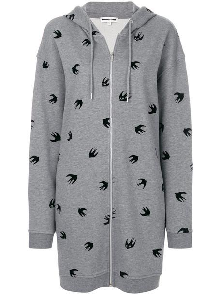 hoodie women cotton print grey sweater