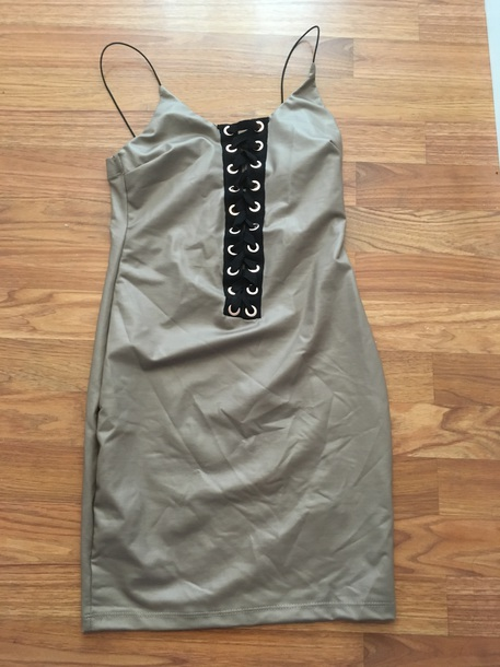 dress mini dress leather faux leather lace up spaghetti strap tan