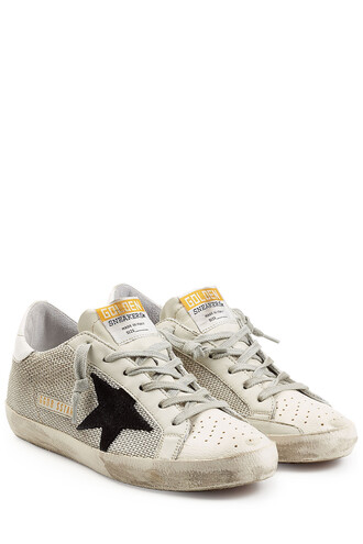 mesh sneakers leather beige shoes