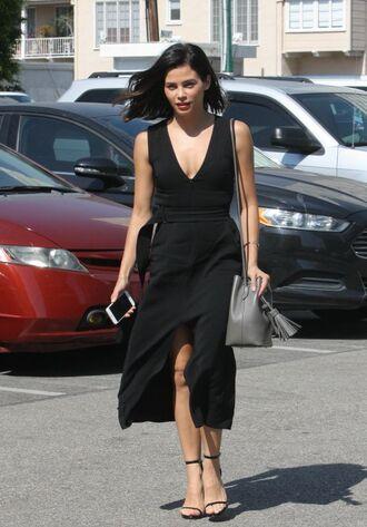 dress black dress midi dress sandals jenna dewan summer summer dress summer outfits plunge dress plunge v neck purse bag