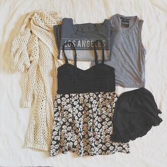 shirt clothes dress black floral girly knitted cardigan jacket blouse sweater tank top t-shirt shorts