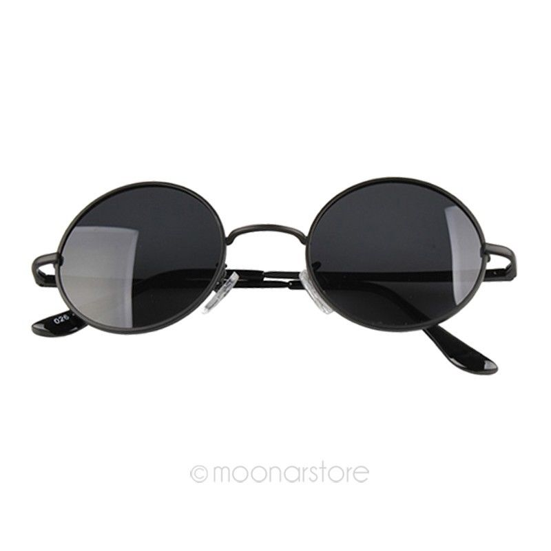 New Fashion Vintage Retro Inspired Round Circle Sunglasses Designer Frame Black