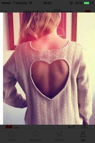 sweater heart cutout back beige