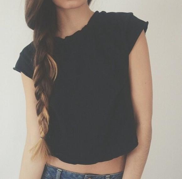 black black t-shirt tank top crop tops shirt t-shirt