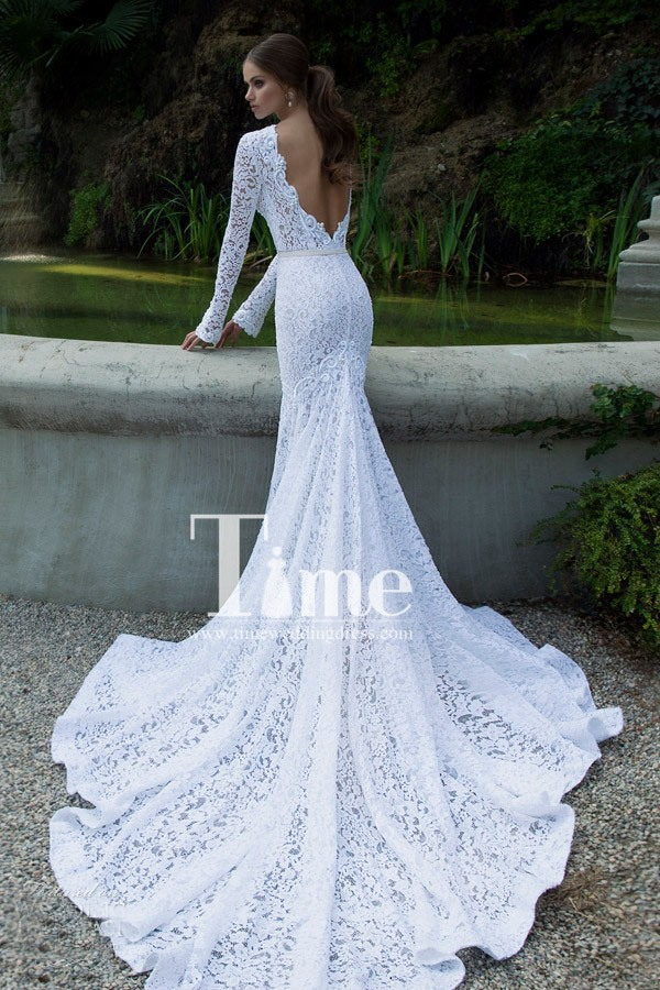 High neck long sleeve low back mermaid lace wedding for Low cut back wedding dress