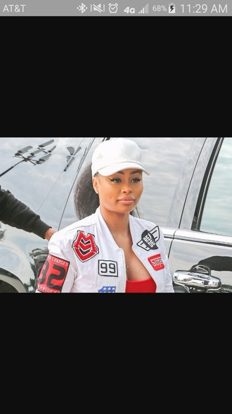 coat blac chyna bomber jacket motorcycle jacket white jacket