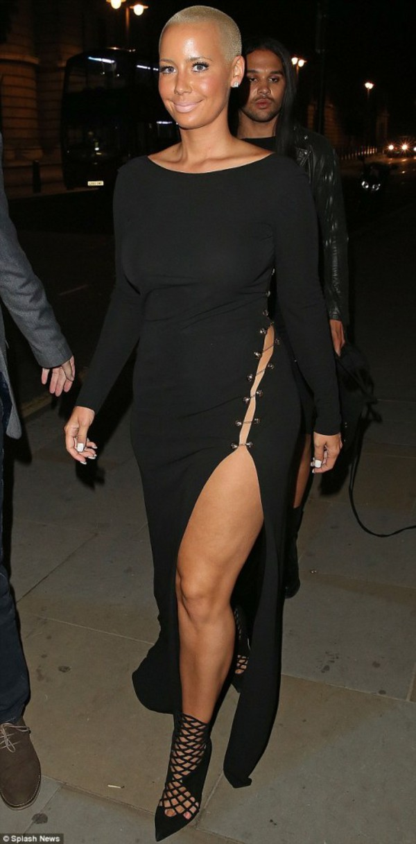dress maxi dress slit dress amber rose black dress