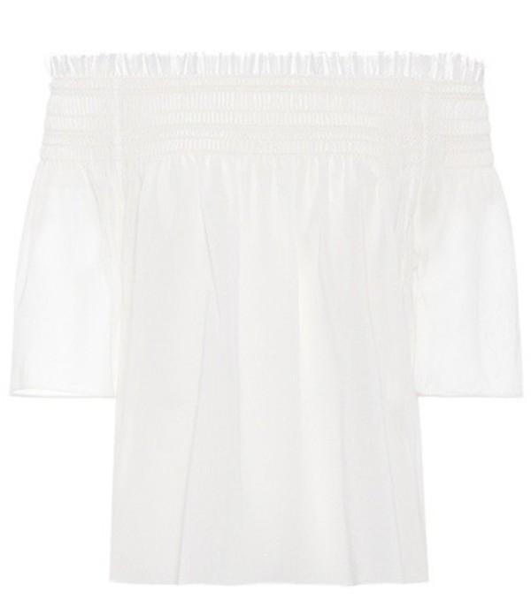 Saint Laurent Off-the-shoulder cotton top in white