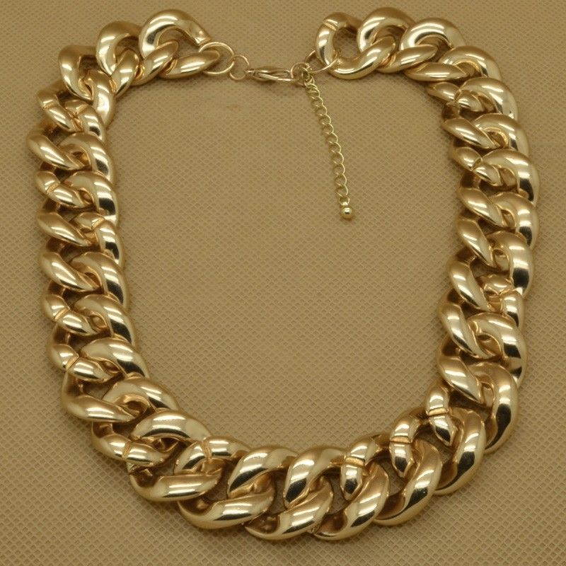 "Fashion Gold Tone Jewelry Big Plastic Chains Cool 18""Necklace EXS 