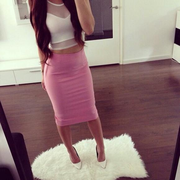 skirt pink skirt high waisted skirt white crop tops chic