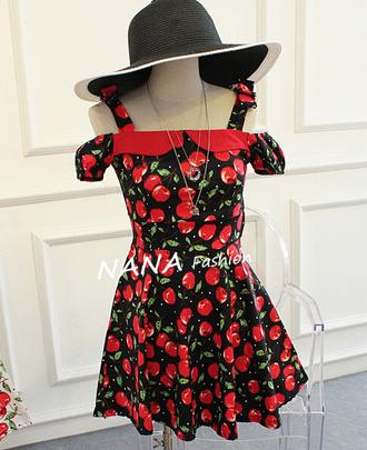 dress cute cute dress summer dress summer spring dress cherry wommen elegant elegant dress