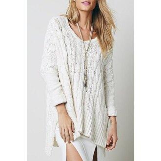 dress sweater knitted sweater white sweater boho style