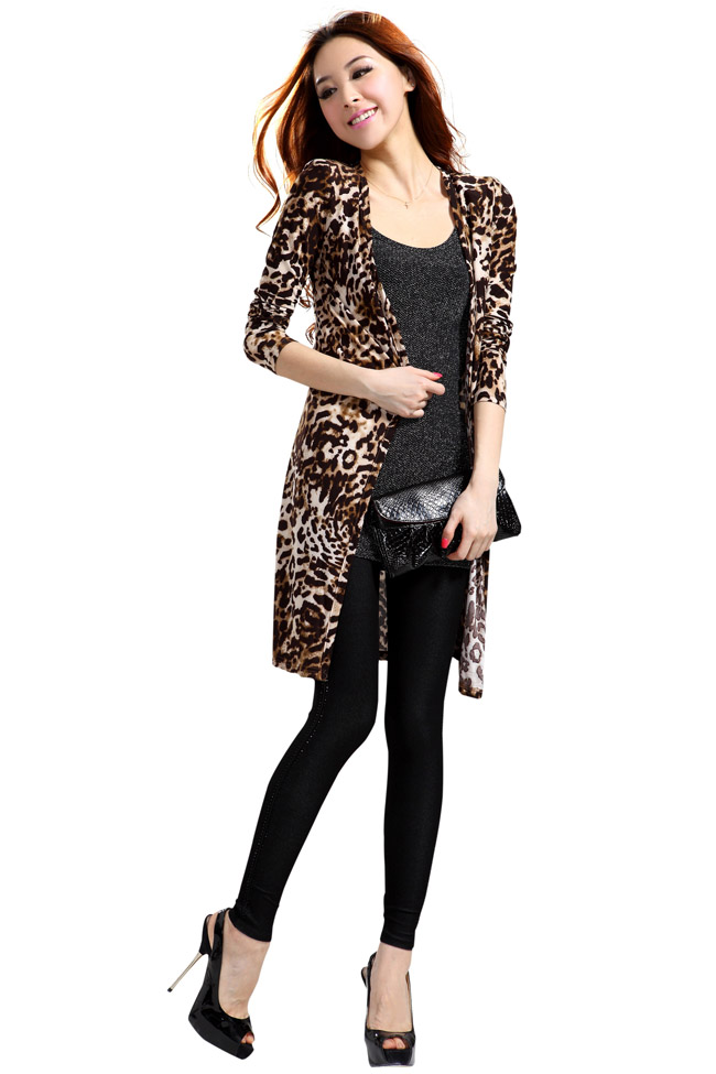 Girls Long Leopard Printed Cardigan For Girls Long Sleeved Design Plus Size Women Cardigans   DHL Free Shipping-inCardigans from Apparel & Accessories on Aliexpress.com