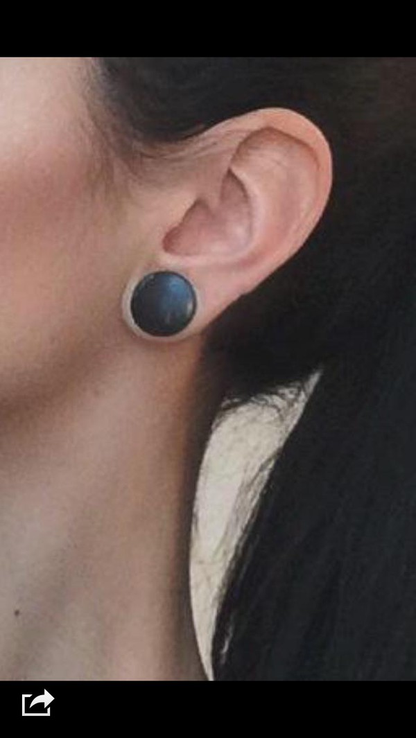 jewels black ear piercings fake plugs grunge jewelry ear plug