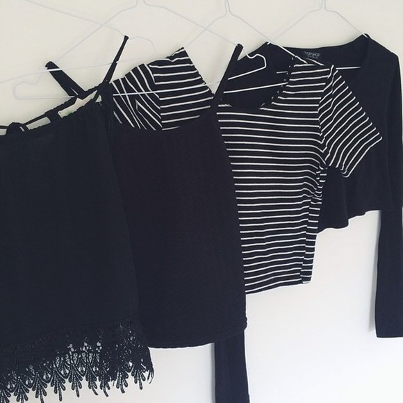 clothes black top stripes mariniere
