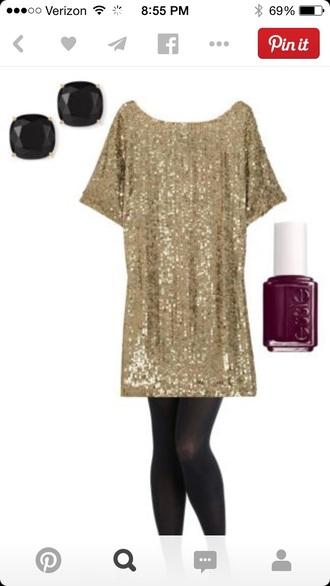 gold sequins christmas gold holiday season tunic dress