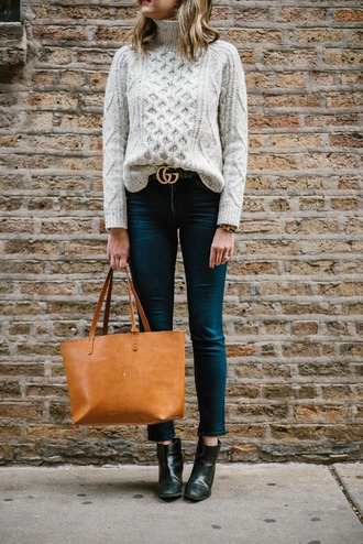 see jane blogger sweater jeans belt shoes bag turtleneck sweater grey sweater ankle boots gucci gucci belt tote bag winter outfits