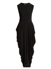 dress,jersey dress,draped,black