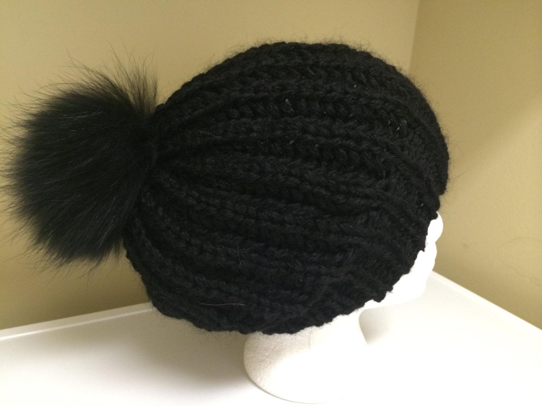 e98f3c7a37b87 Black Mohair Wool Blend Womens Slouchy Hat Beanie - Fold Over ...