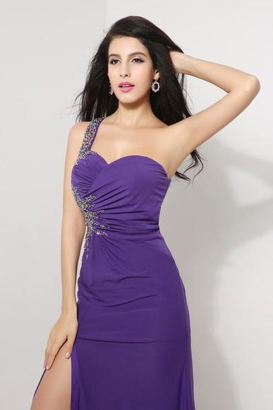 formal dress beaded dress purple dress cut-out dress slit dress one shoulder dress pleat dress design dress jersey dress prom dress 2015 evening dress 2014 party dress